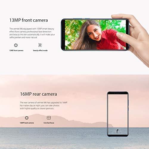 Vernee M6 Smartphone 4G de Pantalla Grande 5.7 Pulgadas, Cámara Dual 16MP+13MP, (4GB RAM 64GB Memoria Interna), Octa-Core 1.5GHz, Móviles...