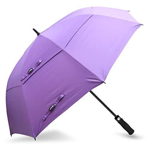 ZOMAKE Automatic Open Golf Umbrella 62/68 Inch - Large Rain Umbrella Oversize Windproof Umbrella Double Canopy for Men (Purple)