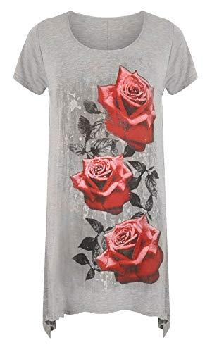 T Gris Taille Femme Clair Manches Noir 21fashion shirt Courtes Unique dPAfx8dqw