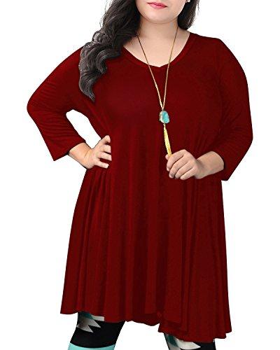 Nemidor Women's V Neck Long Sleeved Casual Loose Plus Size T-Shirt Swing Dress (20W, Wine (Casual Long Sleeved T-shirt)