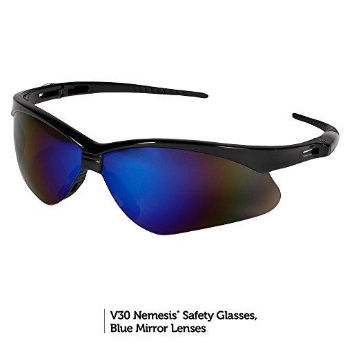 Jackson Safety V30 Nemesis Safety Glasses (14481), Blue Mirror Lenses with Black Frame, Pack of 12 pairs