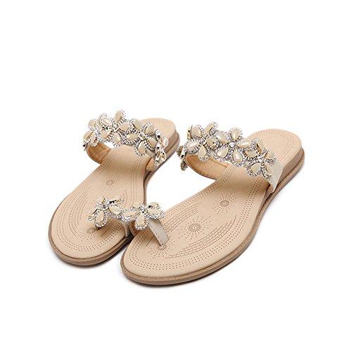 Scarpe Cn35 Le Taglia Da Albicocca Donna Confortevole 2cm Albicocca Haizhen colore Eu36 Diamante Casual Estivi Donne Pantofole 5 Sandali Spiaggia Per Uk3 Raqw5n
