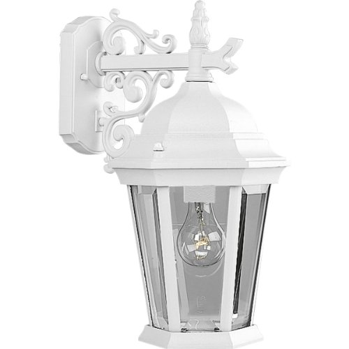 Progress Lighting P5683-30 Wall Lantern with Scroll Arm Combined with The Brilliant Clarity Of Clear Beveled Glass, Textured White
