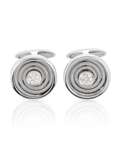 14K White Gold Round Cuff Links (0.13 ctw, K Color, I2 Clarity) ()