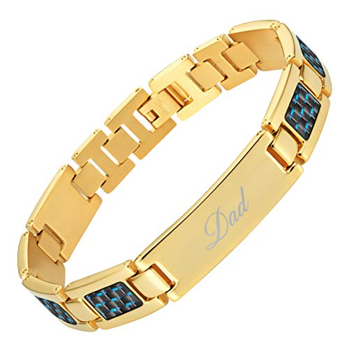 - Willis Judd Best DAD Ever Engraved Titanium Bracelet Blue Carbon Fiber Resizable in Gift Box from Son Daughter Gold Tone