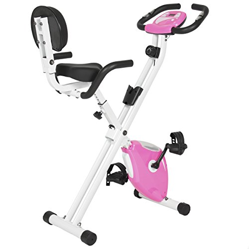 Best Choice Products Pink Folding Adjustable Magnetic Upright Exercise Bike Fitness Upgraded Machine Best Choice Products