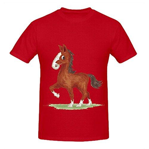 Horse Animal Cute Character Mens Crew Neck Custom Shirts Red