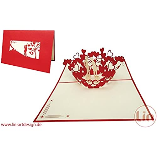 LIN Pop Up 3D Greeting Card for a Wedding Invitation or Congratulation, Kissing Couple Sales