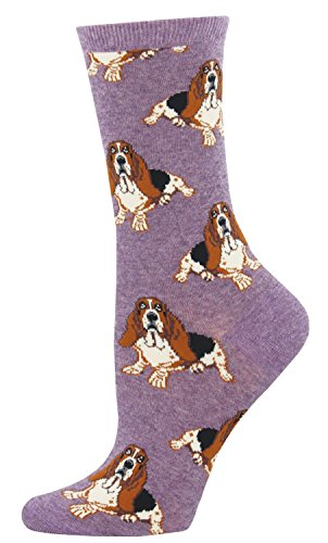 "Socksmith Womens' Novelty Crew Socks ""Nothing But a Hound Dog"" (Heather Lavender)"
