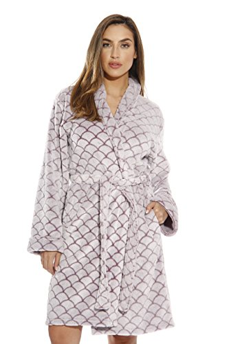 Just Love Kimono Robe Bath Robes for Women 6311-BurgWhite-S ()