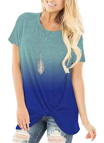 onlypuff Side Knot Tie Dye Ombre Shirt Short Sleeve Tunics Casual Loose Fit Tops for Women Blue XL