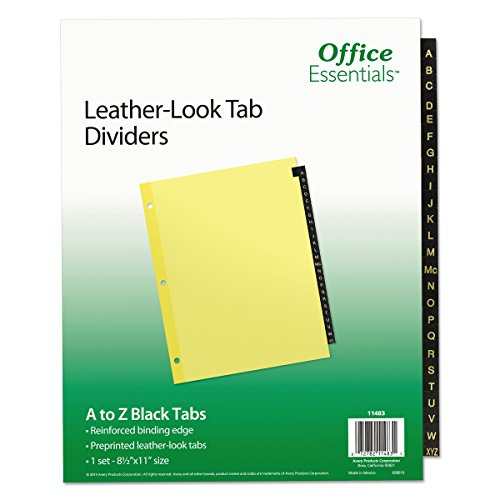 Office Essentials 11483 Preprinted Black Leather Tab Dividers, 25-Tab, Letter