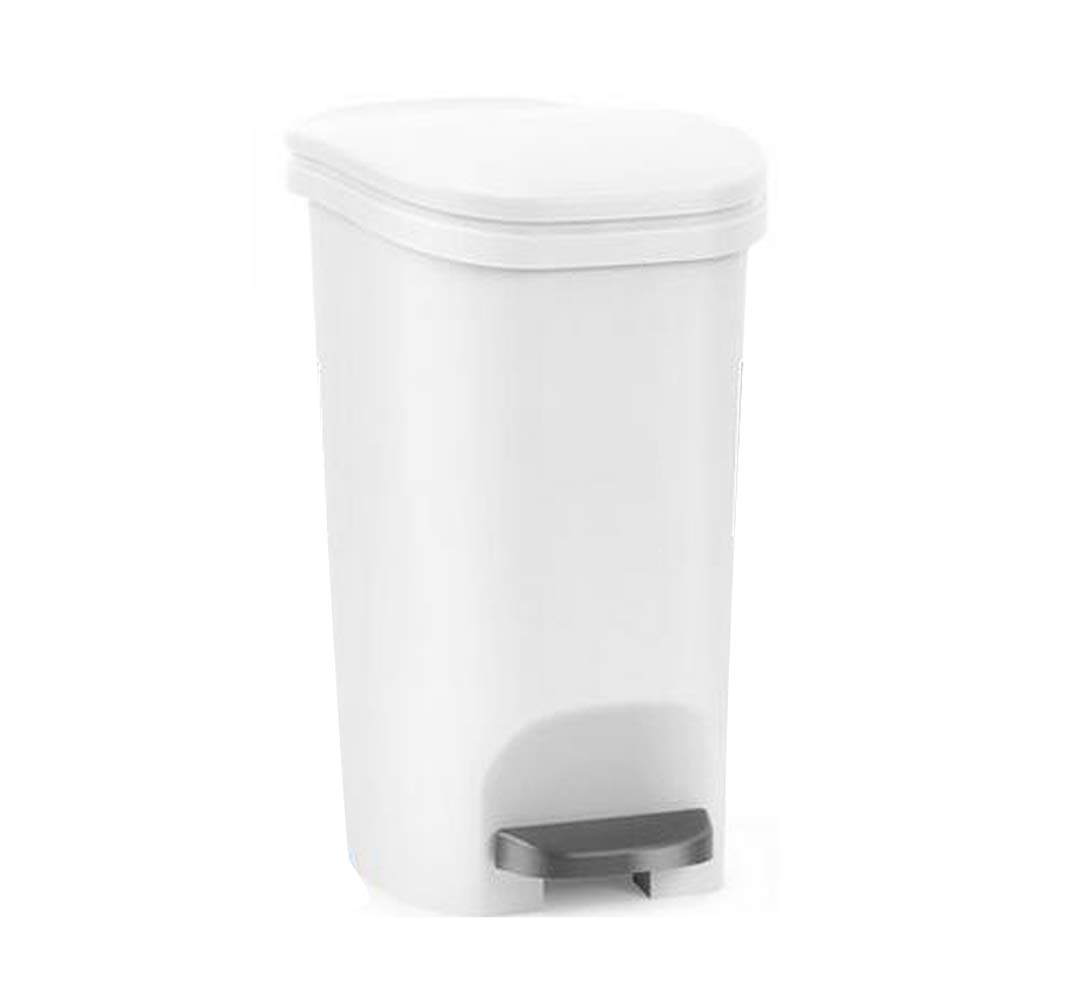 Dual Action Swing Lid Trash Can Home Kitchen Bathroom Garbage 11.25 Gallon White