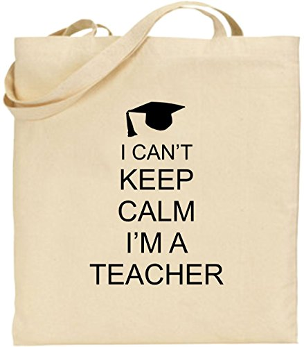 Shopping I Keep Xmas Present Large Black Cotton Tote Bag Cool Can't Calm I'm a Teacher wzZcywrq57
