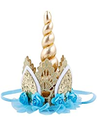 f822b7d8d2e Unicorn Birthday Flower Lace Crown Headband with Gold Horn for Photography  Prop