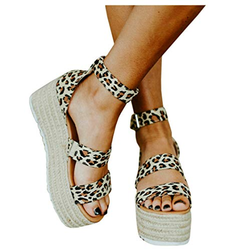 (Women's Platform Wedge Espadrilles Elastic Band Scalloped Strap Animal Print Sandals with Buckle)