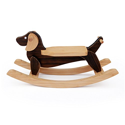 Handmade Wooden Miniature Rocking Dog Dachshund 10.6 Inch Decorative Animal Sculpture Art Figurine Home Kid Room Decor Accent Ornament Rocker