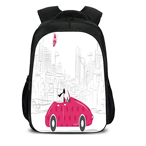 iPrint 15.7'' School Backpack,Cars,Woman Driving Pink Vintage Car Sketchy Cityscape and Butterfly Girls Cartoon,Hot Pink Grey Black,for Teenagers Girls Boys by iPrint