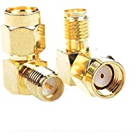 I-MART 2PCS Right Angle 90-Degree Gold Plated RP-SMA Male to RP-SMA Female RF Coaxial Coax Adapter