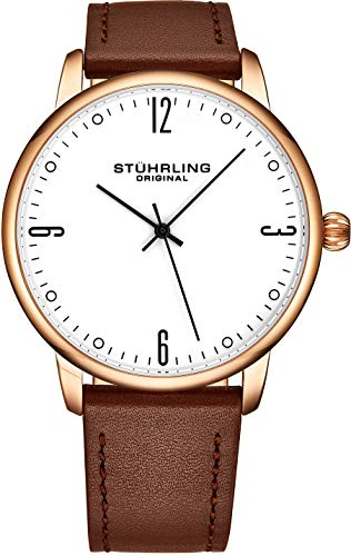Stuhrling Original Mens Rose Gold Watch Brown Leather Strap - White Dial with Black Accents and Rose Gold Tone Case - 3997B Mens Watches Collection