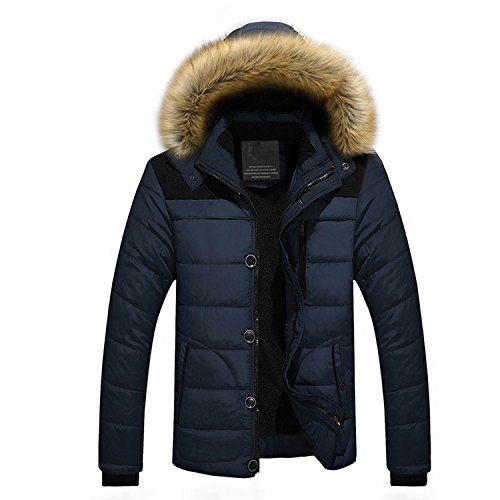 Parka Jacket Men Long Men Down Jacket Casual Warm Hooded Fur Collar Coats Jackets Parkas Black Velvet D 4XL by Feilongzaitianba