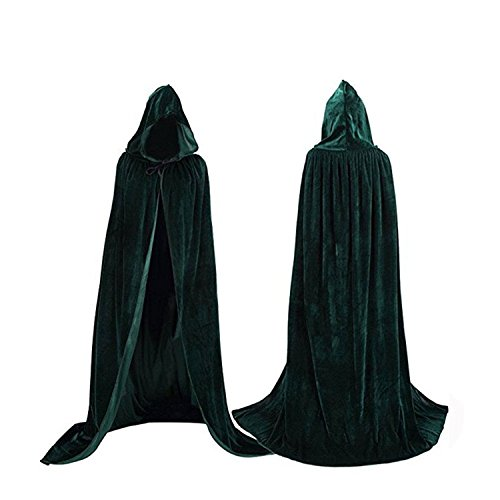 Unisex Death Hooded Halloween Costumes Cape 59 Inch Full Length Vampire Cloak Robe Masquerade Costumes Green