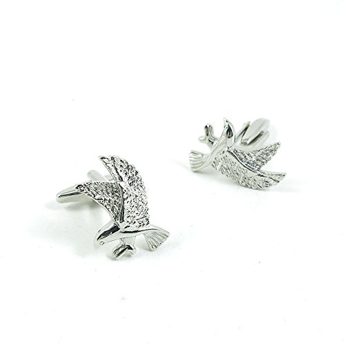50 Pairs Cufflinks Cuff Links Fashion Mens Boys Jewelry Wedding Party Favors Gift 261NC0 Shinning Silver Eagle by Fulllove Jewelry
