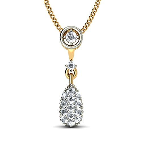 14 K Or jaune 0,28 CT TW Round-cut-diamond (IJ | SI) Pendentif
