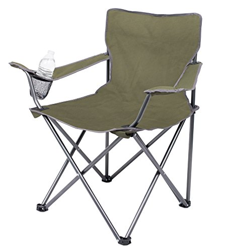 Internet's Best 2 Pack Camping Folding Chair | Outdoor | Green | Sports | Cup Holder | Comfortable | Carry Bag | Beach | Quad