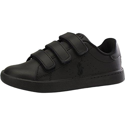 Ralph Ez Junior Quilton Leather Black Polo Lauren Sneakers Bwgfdqaan