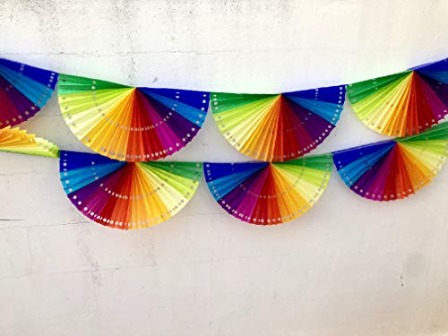 2 Pack. Luau Party Decorations Rainbow tissue paper Fan Banner Birthdays, Event Supplies Garland Ideal for Festivals, Children & Adults by Fiesta Brands