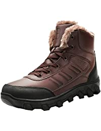 Winter Mens Snow Boots for Men Fur Lining Leather Rubber Sole Ankle Booties