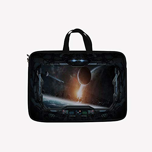 - 3D Printed Double Zipper Laptop Bag,Planets from The Window of a Shuttle Bodies,14 inch Canvas Waterproof Laptop Shoulder Bag Compatible with 14