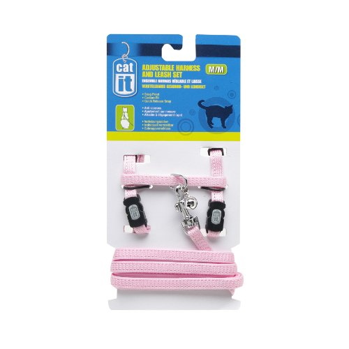 Catit Nylon Adjustable Cat Harness and Leash Set, Medium, Pink