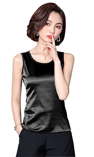ezShe Women's Round Neck Sleeveless Blouse Satin Shell Tops Black 2XL (Womens Silk Tops)