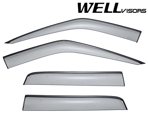 WellVisors Side Window Wind Deflector Visors - Made for and Compatible with Land Rover Range Rover Sport 2006 2007 2008 2009 2010 2011 2012 2013 with Black Trim