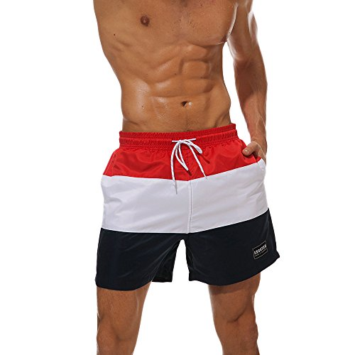 Casual White Stripe Elastic Waist Shorts Sport Gym Men Superior Performance Men's Clothing