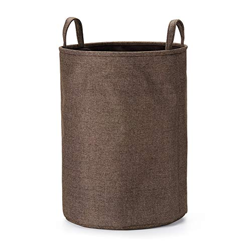 Every Deco Round Cylinder Wire Metal Frame Dual Fabric Laundry Basket Hamper Bin Storage Collapsible Fold-able Organization Toys Clothes - 19.7