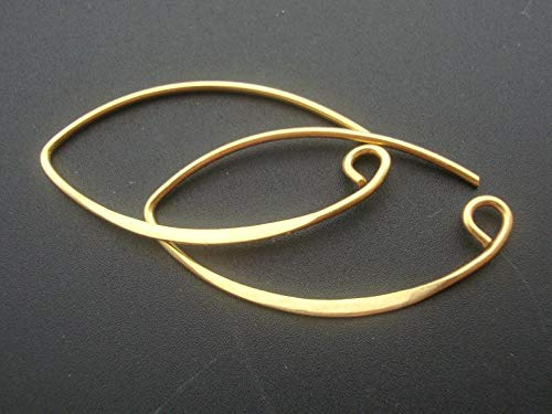 - 2 Pairs, 35x19 mm, 19 Gauge, 24k Gold Over 925 Sterling Silver Sexy French Hook, Leaf Earwires, Bali Artisans, EW-0016