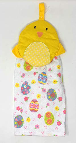 (Northeast Home Goods Cotton Hanging Kitchen Tie Towel, 15-Inch x 17-Inch (Yellow Easter Chick))