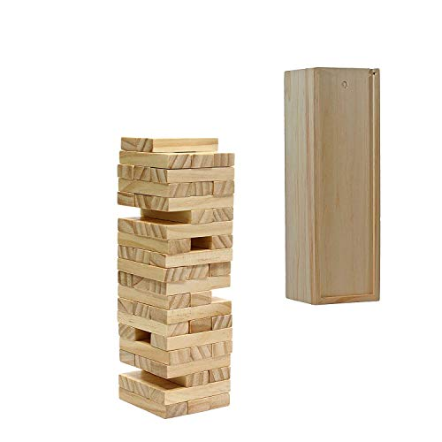WE Games Wood Block Toppling Party Game - Includes 12 in. Wooden Box and die - Natural Blocks
