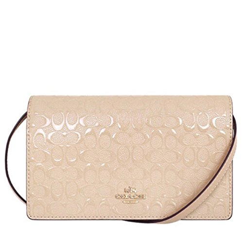 COACH SIGNATURE DEBOSSED PATENT LEATHER FOLDOVER CLUTCH/CROSSBODY by Coach