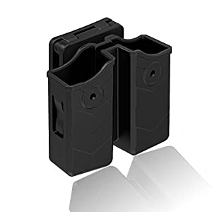 Universal Double Magazine Pouch, Polymer Double Stack Mag Holder Holster with Belt Clip Fits Glock Ruger Sig Sauer Browning Beretta Walther Taurus Colt H&K Smith & Wesson Most Pistol Magazines, Black
