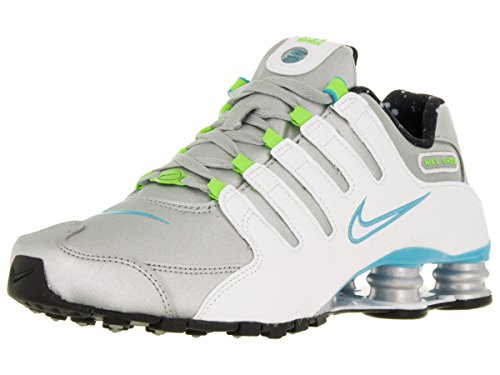 Nike Womens Shox NZ Mtllc Slvr/White/Gmm Bl/Elctrc Running Shoe 8 Women US