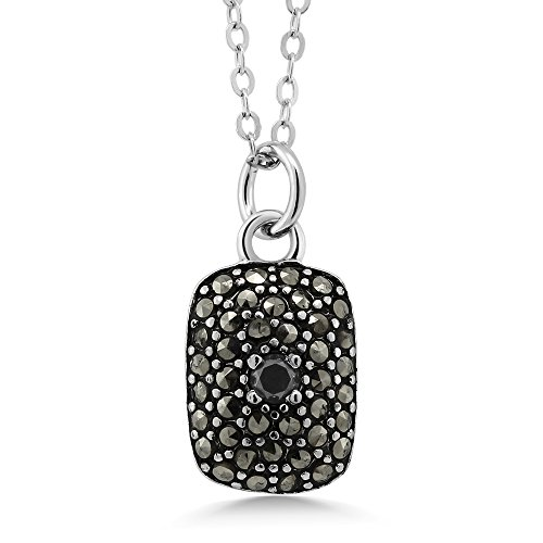 Chain Marcasite Jewelry - 925 Sterling Silver Marcasite Pendant Necklace With Black Diamond Accent On 18 Inch Chain