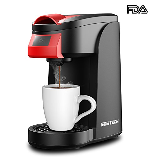 Single Serve Coffee Maker, SOWTECH 2 in 1 3.5 Bar Coffee Machine Brewer Use with Multi K-Cup Pods and Ground Coffee, Support One Key & 2 Minute Brew, 12oz Brew Size, Auto Off, 5.1″ Travel Mug, 800W