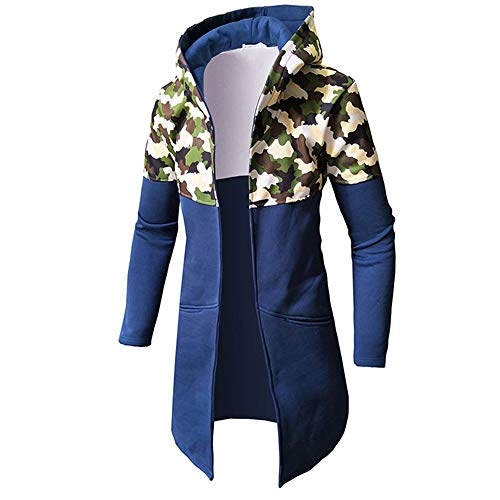 Clearance Forthery Men's Trench Coat with Hood Winter Camouflage Zipper Jacket Overcoat Cardigan(Blue, US Size XL = Tag (Racing Big And Tall T-shirt)
