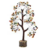 FASHIONZAADI Healing Crystals Mix Chakra Money Tree Feng Shui Bonsai Gemstone Trees Good Luck Table Home Office Decor Crystal Size 10-12 inch (Silver Wire)