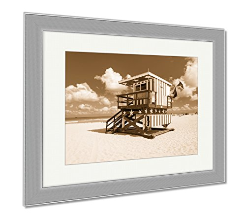 Ashley Framed Prints Lifeguard Hut In South Beach With An American Flag Design Miami, Wall Art Home Decoration, Sepia, 34x40 (frame size), Silver Frame, AG6454069 (Seas South Hut)