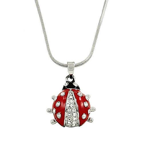 Austrian Crystal Turtle - Falari Ladybug Pendant Necklace Rhinestone Crystal Rhodium High Polished 11-J0082